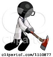 Black Doctor Scientist Man Striking With A Red Firefighters Ax