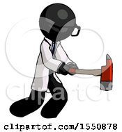 Black Doctor Scientist Man With Ax Hitting Striking Or Chopping
