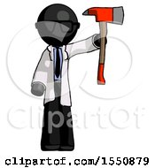 Black Doctor Scientist Man Holding Up Red Firefighters Ax