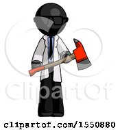 Black Doctor Scientist Man Holding Red Fire Fighters Ax