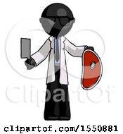 Black Doctor Scientist Man Holding Large Steak With Butcher Knife