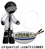Black Doctor Scientist Man And Noodle Bowl Giant Soup Restaraunt Concept