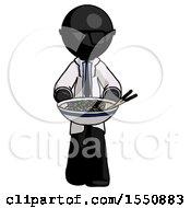 Black Doctor Scientist Man Serving Or Presenting Noodles