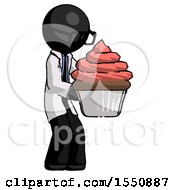 Black Doctor Scientist Man Holding Large Cupcake Ready To Eat Or Serve