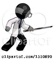 Black Doctor Scientist Man Stabbing With Ninja Sword Katana
