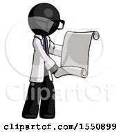 Black Doctor Scientist Man Holding Blueprints Or Scroll