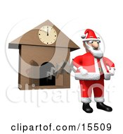 Santa Claus In His Red And White Uniform Popping Out Of A Cuckoo Clock Right At Midnight Ready To Get To Work And Deliver Christmas Gifts Clipart Illustration Image by 3poD