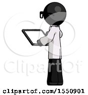 Black Doctor Scientist Man Looking At Tablet Device Computer With Back To Viewer