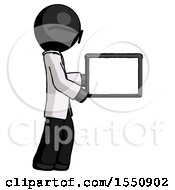 Black Doctor Scientist Man Show Tablet Device Computer To Viewer Blank Area