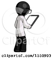 Black Doctor Scientist Man Looking At Tablet Device Computer Facing Away