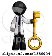 Black Doctor Scientist Man Holding Key Made Of Gold