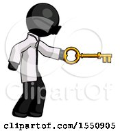 Black Doctor Scientist Man With Big Key Of Gold Opening Something