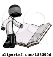 Poster, Art Print Of Black Doctor Scientist Man Reading Big Book While Standing Beside It