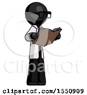 Poster, Art Print Of Black Doctor Scientist Man Reading Book While Standing Up Facing Away
