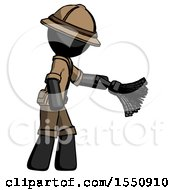 Black Explorer Ranger Man Dusting With Feather Duster Downwards