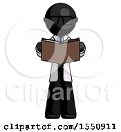 Poster, Art Print Of Black Doctor Scientist Man Reading Book While Standing Up Facing Viewer