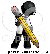 Black Doctor Scientist Man Writing With Large Pencil