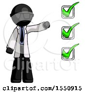 Black Doctor Scientist Man Standing By List Of Checkmarks
