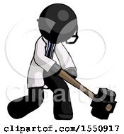 Black Doctor Scientist Man Hitting With Sledgehammer Or Smashing Something At Angle