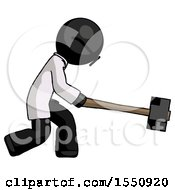Black Doctor Scientist Man Hitting With Sledgehammer Or Smashing Something