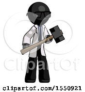 Black Doctor Scientist Man With Sledgehammer Standing Ready To Work Or Defend