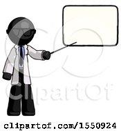 Black Doctor Scientist Man Giving Presentation In Front Of Dry Erase Board