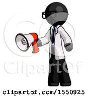 Black Doctor Scientist Man Holding Megaphone Bullhorn Facing Right