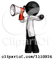 Black Doctor Scientist Man Shouting Into Megaphone Bullhorn Facing Left