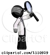 Black Doctor Scientist Man Inspecting With Large Magnifying Glass Facing Up