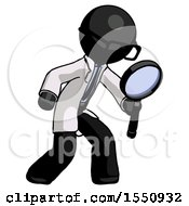 Black Doctor Scientist Man Inspecting With Large Magnifying Glass Right