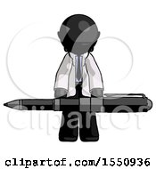 Black Doctor Scientist Man Weightlifting A Giant Pen