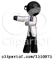 Black Doctor Scientist Man Presenting Something To His Right