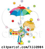 Clipart Of A Happy Entertaining Clown With An Umbrella And Balls Royalty Free Vector Illustration