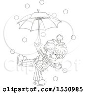 Lineart Entertaining Clown With An Umbrella And Balls