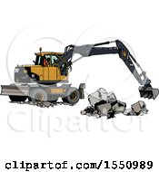 Clipart Of A Yellow Excavator Machine Moving Concrete Blocks Royalty Free Vector Illustration