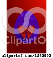 Clipart Of A 3d Purple Easter Egg With A Bow On Red Royalty Free Vector Illustration