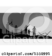 Silhouetted Group Of Soldiers On A Battle Field Against A Full Moon With White Panels