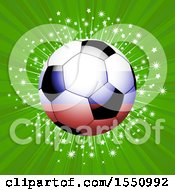Red White And Blue Soccer Ball Over Green Rays And A Star Burst