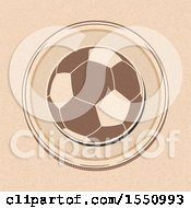 Clipart Of A Soccer Ball In A Border On Brown Paper Royalty Free Vector Illustration