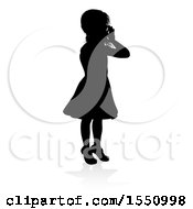 Silhouetted Girl Hollering With A Reflection Or Shadow On A White Background