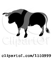 Silhouetted Black Bull With A Shadow On A White Background