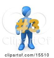 Blue Person Holding A Number Three Sign by 3poD