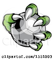 Clipart Of A Green Monster Claw Holding A Soccer Ball Royalty Free Vector Illustration