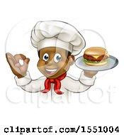 Clipart Of A Male Chef Holding A Cheese Burger On A Tray And Gesturing Perfect Royalty Free Vector Illustration