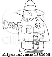 Cartoon Lineart Male Ranger Holding A Flashlight And Firearm