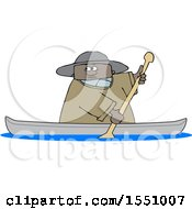 Clipart Of A Cartoon Black Man Rowing A Canoe Royalty Free Vector Illustration