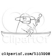 Cartoon Lineart Man Rowing A Canoe