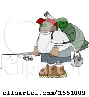 Cartoon Black Man With Camping And Fishing Gear