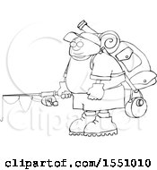 Cartoon Lineart Man With Camping And Fishing Gear