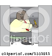 Cartoon Black Man Writing In His Office Cubicle